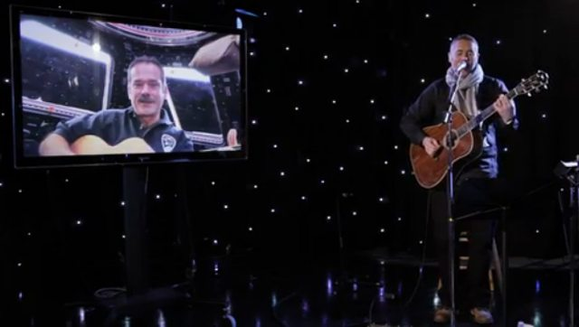 Chris Hadfield and Ed Robertson sing a duet for the CBC.