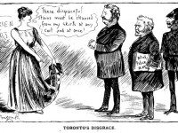 Cartoon by J.W. Bengough. Toronto Mayor William Holmes Howland is second from left. Grip, June 4, 1887