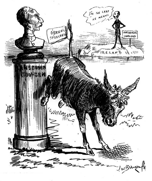 """The Ass and the Figure-head; or O'Brien kicking at the wrong Lansdowne."" Cartoon by J.W. Bengough, Grip, May 21, 1887."