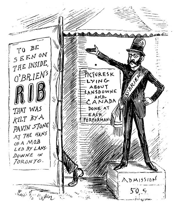 """O'Brien's Side-Show, as exhibited in the principal cities of the United States."" Cartoon by J.W. Bengough, Grip, June 18, 1887."