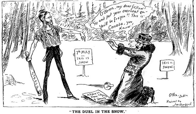 Cartoon by J.W. Bengough parodying a similar cartoon depicting O'Brien (left) and Lansdowne (right) published in Ireland. Grip, June 11, 1887.