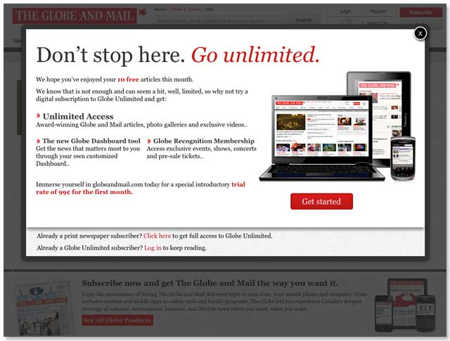 A screencap of the Globe's paywall, in action