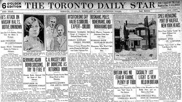 Front page of the Toronto Star (February 9, 1915).