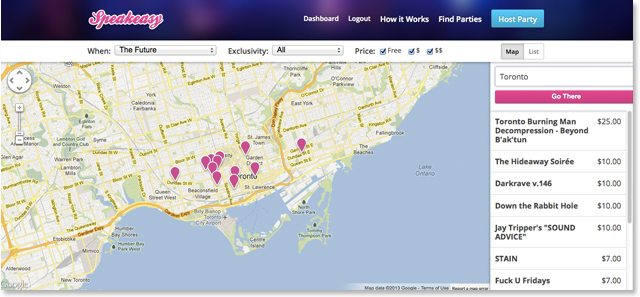 A screengrab of Speakeasy's site, showing events in Toronto this weekend.
