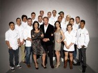 All of Top Chef Canada's season-three chefs, with Lisa Ray, Mark McEwan, and Shereen Arazm in front.