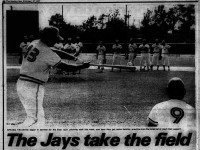 Toronto first base coach Don Leppert leading the Blue Jays in fielding practice.  From the Toronto Sun, February 27, 1977.