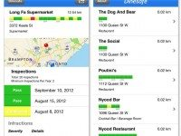 Screenshots of Matthew Ruten's Dinesafe app.