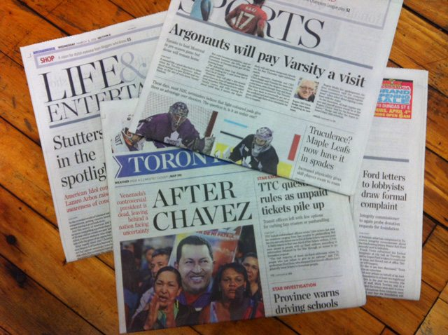 The print edition of today's Toronto Star (shown here) had no bylines  Photo by Hamutal Dotan/Torontoist