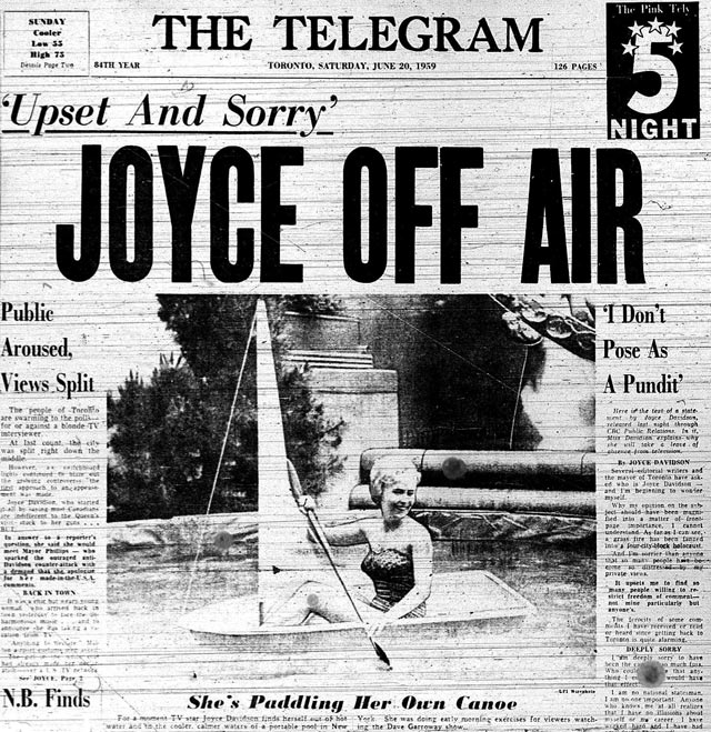 Joyce Davidson on the front page of the Telegram, June 20, 1959