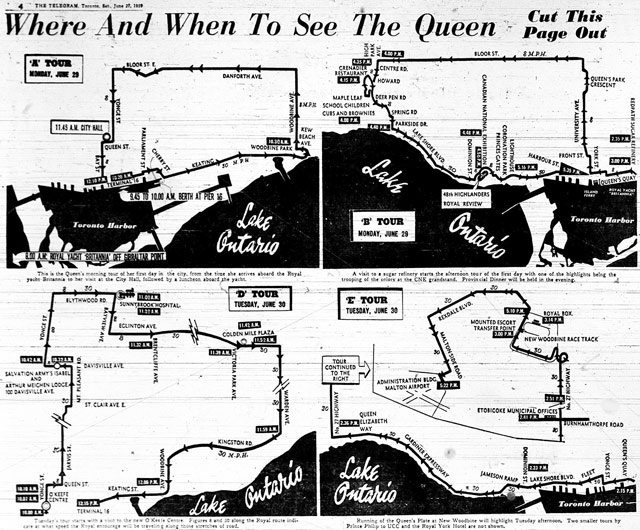 Maps of the royal tour routes, the Telegram, June 27, 1959