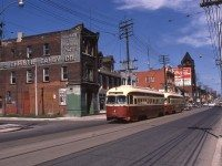 A two-car streetcar passes Queen Street East and Munro Street, in August 1972. Photo by Steve Munro.