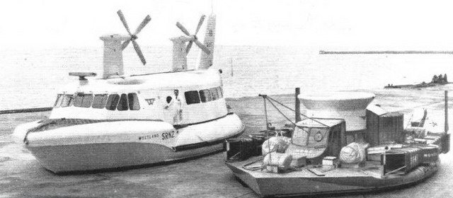 Image of the SR N2 (Left) and SR N1 (Right) Hovercrafts from Flight International (March 9, 1962)