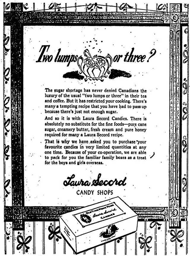A Second World War advertisement addressing sugar supply issues  The Globe and Mail, July 6  1944