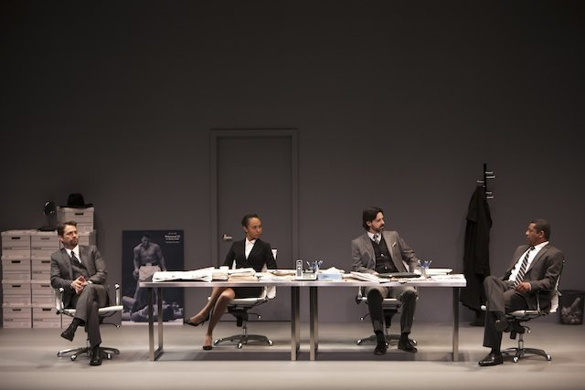 There's black, white, and a lot of grey area in David Mamet's Race at Canadian Stage. Photo by David Hou.
