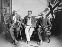 Three of the last surviving Six Nations members who fought in the War of 1812, photographed in 1882. Left to right: John Smoke Johnson, John Tutela, and Young Warner. Library and Archives Canada, c-085127, via Wikimedia Commons.