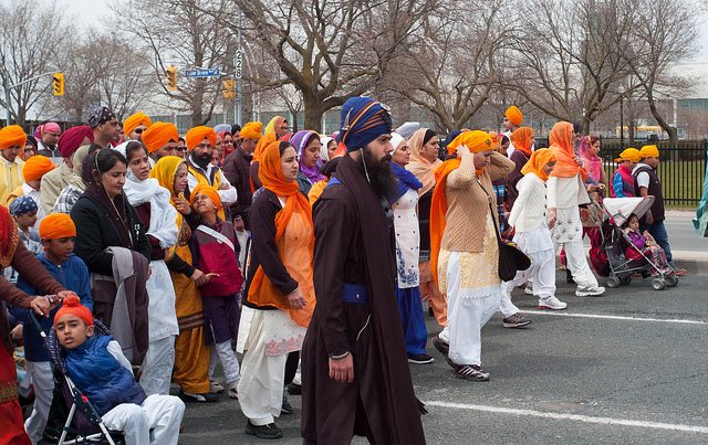 Sikhs march through the downtown core on Khalsa Day  Photo by j riviere, from the Torontoist Flickr Pool