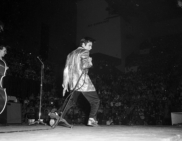 Presley on stage in Toronto, April 2, 1957, from the York University Libraries, Clara Thomas Archives & Special Collections, Toronto Telegram fonds, F0433, ASC00832