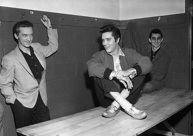 Presley backstage at Maple Leaf Gardens with Gene Smith (L) and George Klein (R), April 2, 1957, from the York University Libraries, Clara Thomas Archives & Special Collections, Toronto Telegram fonds, F0433, ASC00833