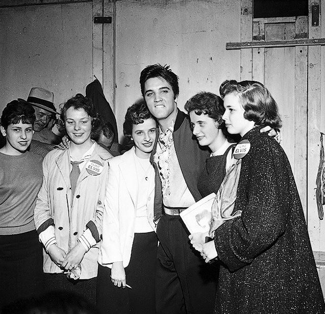 Presley with fans backstage in Buffalo, April 1, 1957, from the York University Libraries, Clara Thomas Archives & Special Collections, Toronto Telegram fonds, F0433, ASC00837