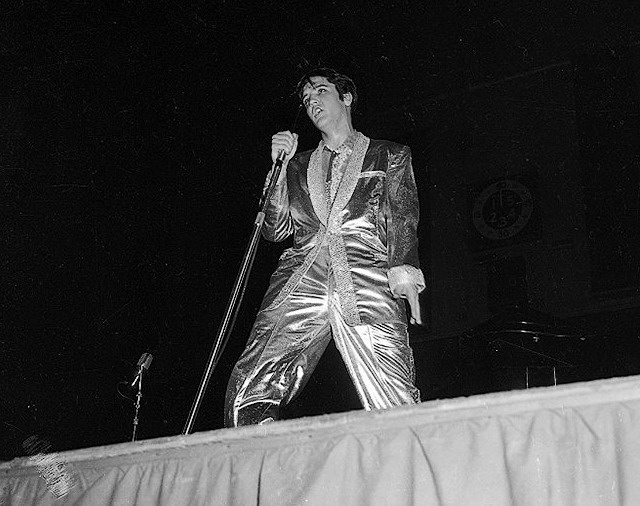 Presley on stage during the 6 p m  show at Maple Leaf Gardens, from the York University Libraries, Clara Thomas Archives & Special Collections, Toronto Telegram fonds, F0433, ASC00845
