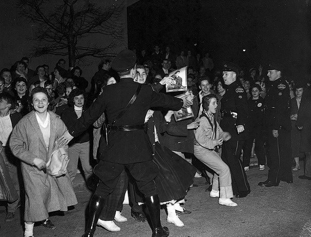 Presley's fans and Toronto Police, April 2, 1957, from the York University Libraries, Clara Thomas Archives & Special Collections, Toronto Telegram fonds, F0433, ASC07058