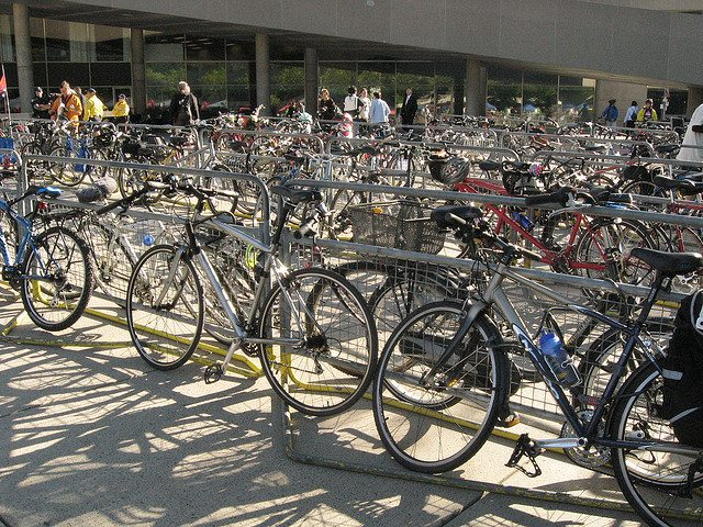 Bikes in Nathan Phillips Square during 2008's Bike to Work ride  Photo by rob harris28, from the Torontoist Flickr Pool