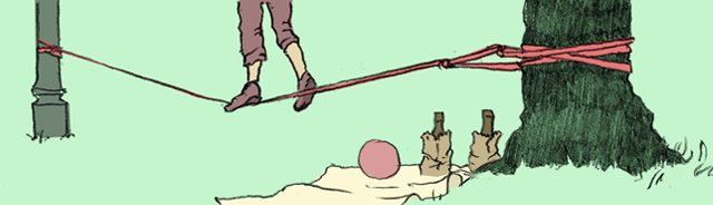 illustration of a person walking across a slackline between a tree and a lamp post