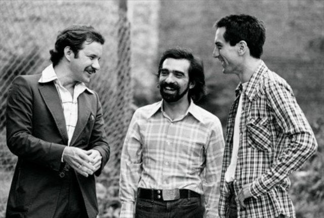 Paul Schrader, Martin Scorsese, and Robert De Niro all being impossibly young on the set of Taxi Driver.