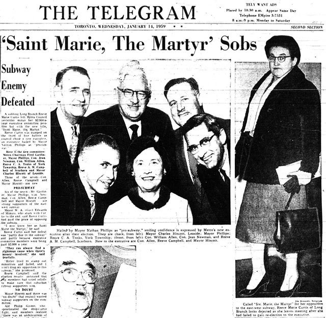 Marie Curtis gets the boot, while the new Metro Executive Committee smiles for a group shot  The Telegram, January 14, 1959