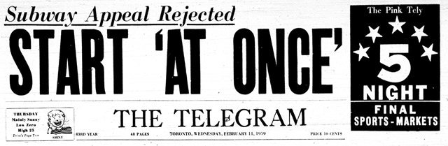 Headline: the Telegram, February 11, 1959