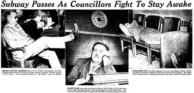 Metro councillors attempting to catch a few winks during a 13 and a half hour meeting  Left picture: H O  Waffle (in shades) and Donald Summerville (head resting)  Middle picture: Chris Tonks  Right picture: Albert Campbell  The Toronto Star, July 4, 1958