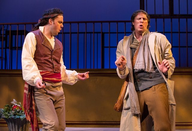 Gregory Prest as Count Almaviva and Dan Chameroy as Figrao in The Barber of Seville  Photo by Cylla von Tiedemann