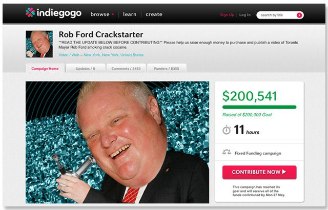 A screenshot of Gawker's Rob Ford Crackstarter, as of about 4:15 this afternoon