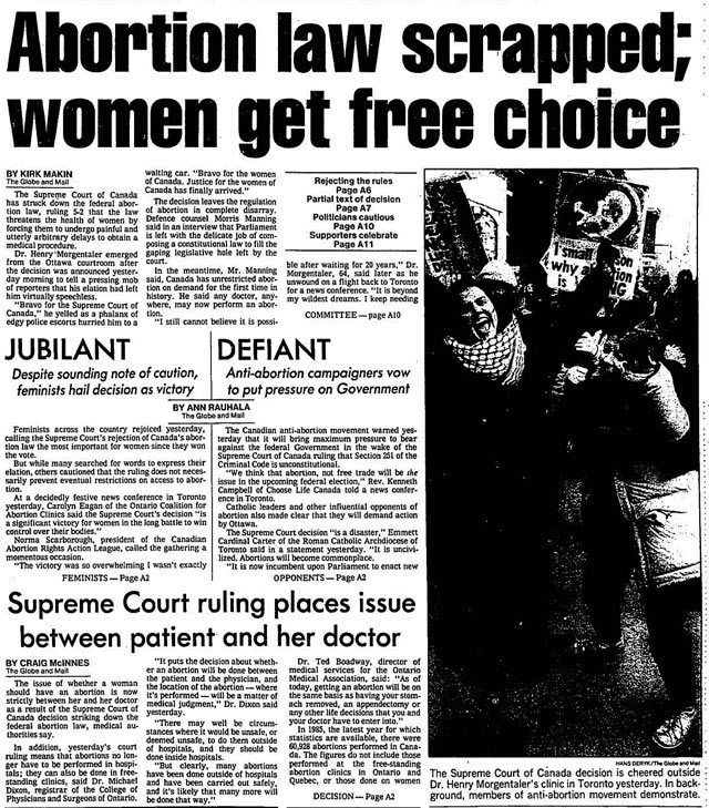 Front page, the Globe and Mail, January 29, 1988