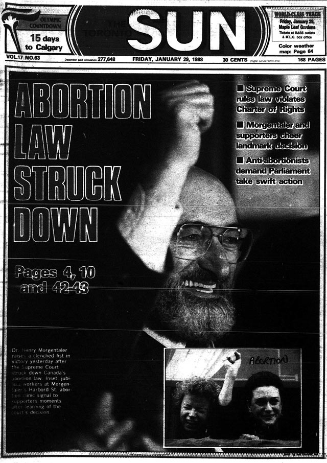 Front page, the Toronto Sun, January 29, 1988