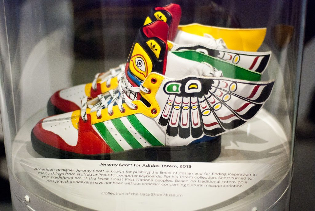This pair of sneakers, designed by by Jeremy Scott for Adidas, is on display as part of the Bata Shoe Museum's Out of the Box exhibition.