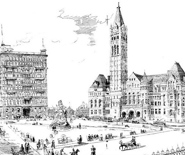 The proposed Victoria Square at Queen and Bay streets, January 1898  From Wikimedia Commons