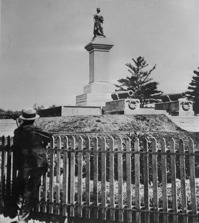 Photo of Queen Victoria monument at Queen's Park, 1870, by Arthur R  Blackburn  From the Toronto Public Library Digital Collection