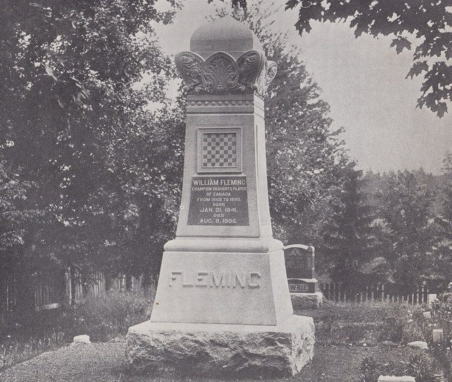 Fleming's gravestone in St  Andrew's Cemetery, Markham, from Lyman Marshall Stearns' The Draughts Marvel and Twentieth Century Checker Compendium (1909)