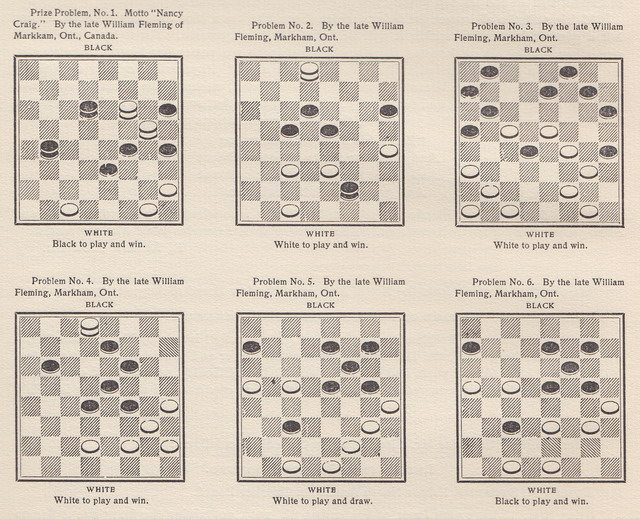 Checkers Problems devised by William Fleming from Lyman Marshall Stearns' The Draughts Marvel and Twentieth Century Checker Compendium (1909)