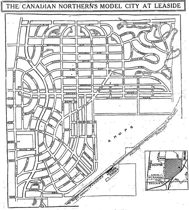 Map of plan for Leaside, the Toronto Star, December 2, 1912