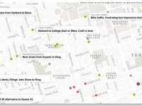 A screencap of the New York Times's cycling map of Toronto, with user comments.
