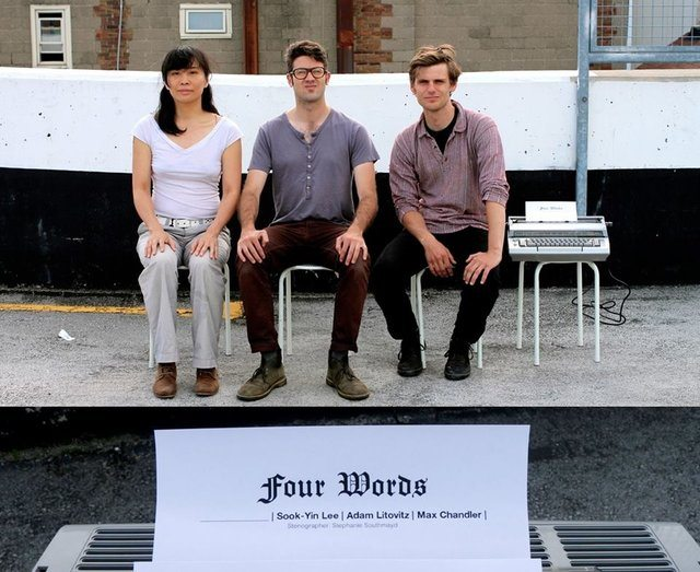 Sook Yin Lee, Adam Litovitz, and Max Chandler collaborate on the poetry experiment Four Words, as part of the SummerWorks soiree fundraiser.