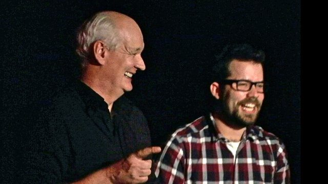 Comedian Colin Mochrie and Jim Robinson, host of Beerprov.