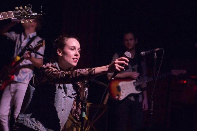 You know the words; Allie Hughes of Dwayne Gretzky encourages audience participation. Photo by Andrew Williamson.