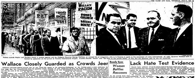 Coverage of protestors and Wallace's arrival from the Globe and Mail (July 9, 1964)