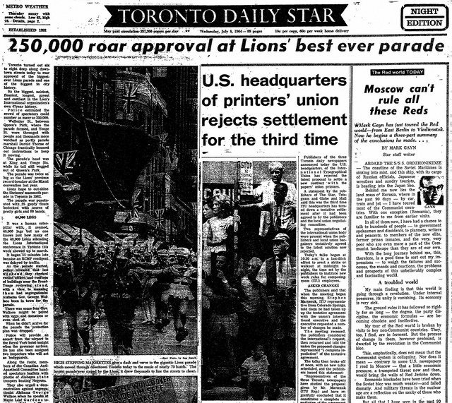 Coverage of the Lions Convention Parade from the Toronto Star (July 8, 1964)