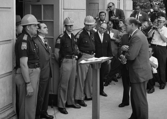 George Wallace blocks the doorway at the University of Alabama, June 11, 1963  Photo by Warren K  Leffler from WikiMedia Commons