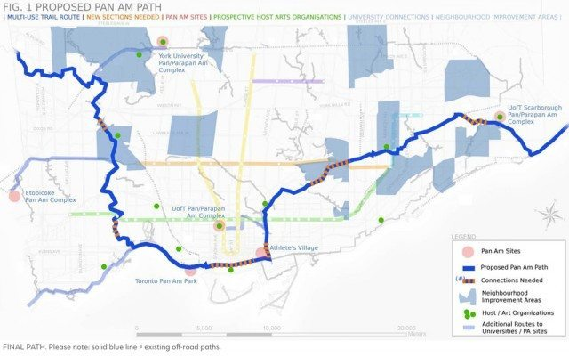 The proposed route for the Pan Am Path. The heavy blue line indicates existing trails and the orange bars show gaps between them that would be filled in as part of this project. (Click on t
