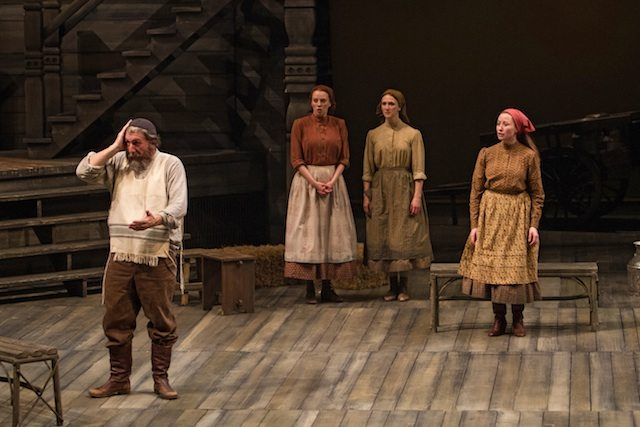 Scott Wentworth as Tevye, with Jacquelyn French (Hodel), Keely Hutton (Chava) and Jennifer Stewart (Tzeitel) in Fiddler on the Roof. Photo by Cylla von Tiedemann.
